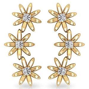 piercing de flores para cartilago, de oro amarillo de 18 k con diamantes