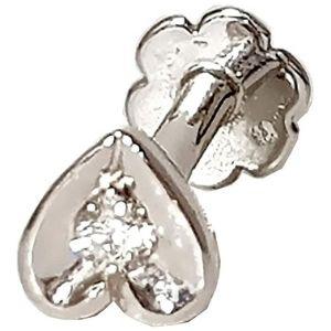 piercing de corazon para nariz, de oro blanco solido de 14 k con diamante