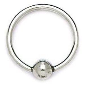 piercing gauge circular para nariz, de oro blanco de 14 k