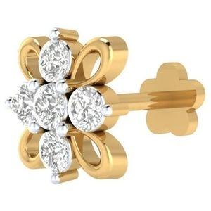 piercing de flor para nariz, de oro amarillo de 14 k con diamantes