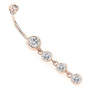 piercing de colgante para ombligo, de oro rosa solido de 14 k con diamantes