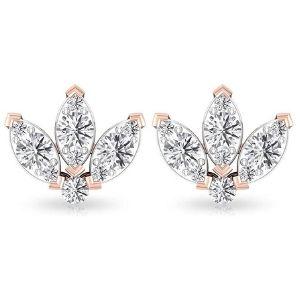 piercing triple marquesa para cartilago, de oro rosa de 18 k con diamantes