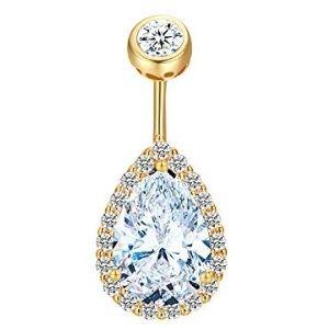 piercing tipo pera para ombligo, de oro amarillo macizo de 14 k con diamantes