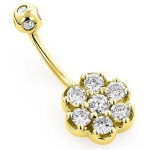 piercing tipo flor para ombligo, de oro amarillo macizo de 14 k con diamantes
