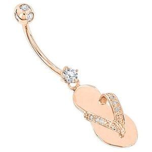 piercing de sandalia para ombligo, en oro rosa macizo de 14 k con diamantes