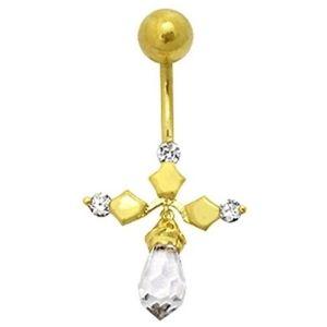 piercing de colgante de cruz para ombligo, de oro amarillo solido de 14 k con cristales