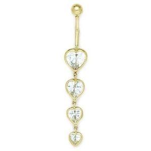 piercing de corazones para ombligo, de oro amarillo macizo de 14 k con circonitas