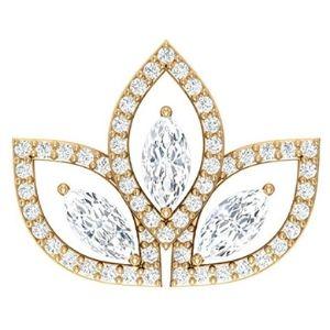 piercing de flor de loto para cartilago, de oro amarillo de 14 k con diamantes