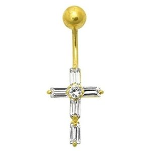 piercing de cruz para ombligo, de oro amarillo de 14 k con circonitas