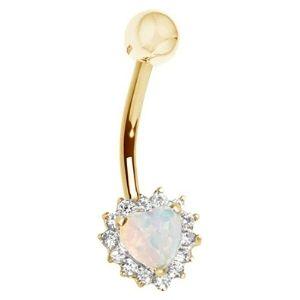 piercing de corazon para ombligo, de oro amarillo de 14 k con opalo y circonitas