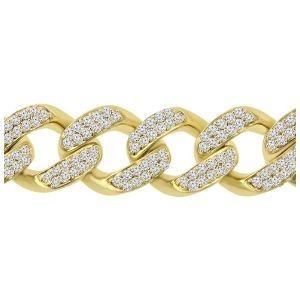 pulsera cubana miami para hombre, de oro amarillo de 14 k con diamantes