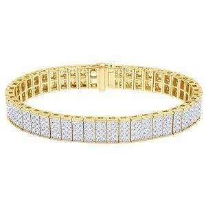 pulsera tipo tenis para hombre, de oro amarillo macizo de 10 k con diamantes