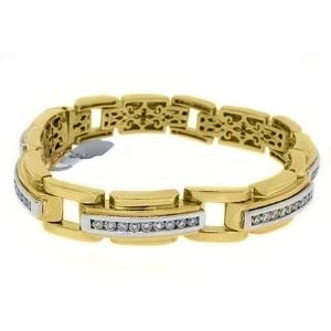 pulsera para hombre, de oro amarillo de 14 k con diamantes