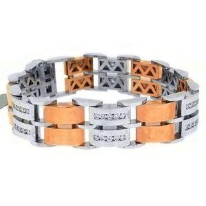 pulsera para hombre, de oro blanco y amarillo de 14 k con diamantes