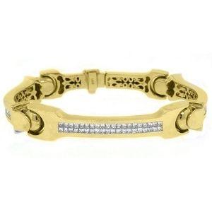 pulsera de corte cuadrado para hombre, de oro amarillo de 18 k con diamantes