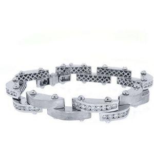 pulsera para hombre, de oro blanco de 14 k con diamantes redondos