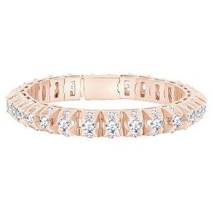 pulsera tenis para mujer, de oro rosa macizo de 14 k con diamantes