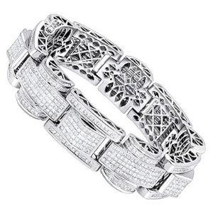 pulsera corte princesa para mujer, de oro blanco macizo de 14 k con diamantes