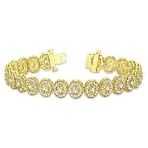 pulsera tipo halo para mujer, de oro amarillo macizo de 18 k con diamantes