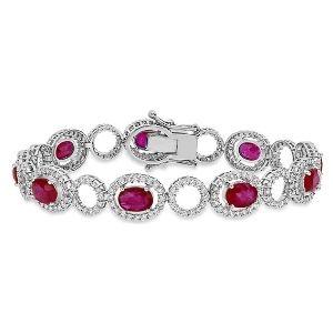 pulsera para mujer, de oro blanco de 18 k con rubies