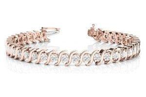 pulsera tipo tenis para mujer, de oro rosa de 18 k con diamantes