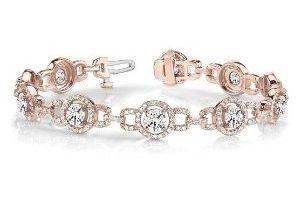 pulsera tipo halo para mujer, de oro rosa de 18 k con diamantes