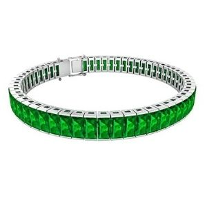 pulsera tenis para mujer, de oro blanco de 18 k con esmeraldas