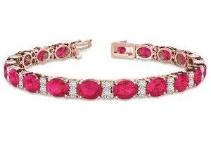 pulsera tenis para mujer, de oro rosa de 14 k con rubies