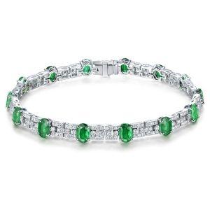 pulsera para mujer, de oro blanco de 14 k con esmeraldas y diamantes