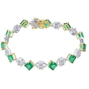 pulsera para mujer, de oro blanco y amarillo de 14 k con esmeraldas y diamantes
