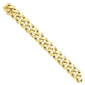 pulsera de eslabones pulidos para hombre, de oro amarillo solido de 14 k