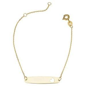 pulsera de identificacion para niños, de oro amarillo de 14 k
