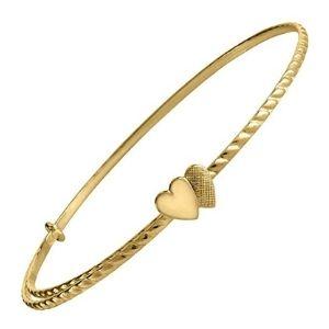 pulsera ajustable con corazones para niños, de oro amarillo de 14 k