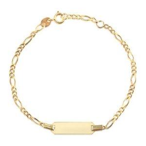 pulsera figaro grabable para niños, de oro amarillo de 14 k