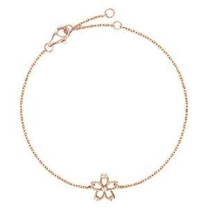 pulsera ajustable con flor para niñas, de oro rosa de 14 k