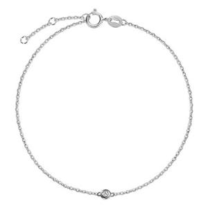 pulsera delicada para niñas, de oro blanco macizo de 14 k con diamantes