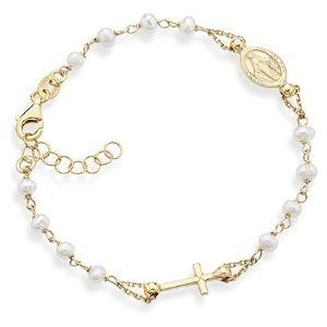 pulsera con perlas para ni帽as, chapada en oro amarillo de 14 k