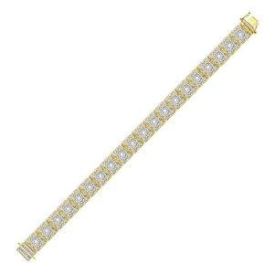 pulsera para hombre, de oro amarillo de 10 k con diamantes redondos
