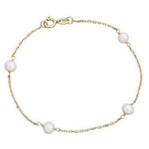 pulsera de perlas para niñas, de oro amarillo de 14 k