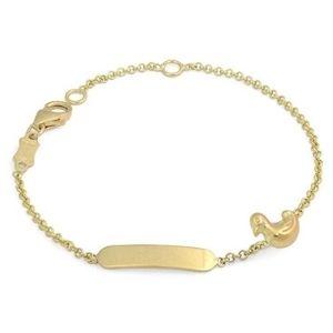 pulsera de identificacion para niños, de oro amarillo de 18 k