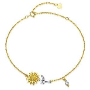 pulsera de girasol para niñas y mujeres, de oro amarillo macizo de 14 k