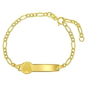 pulsera de identificacion para niños y bebes, de oro amarillo de 14 k