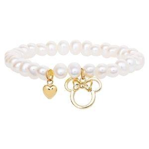 pulsera minnie mouse para niñas, de oro amarillo de 10 k con perlas