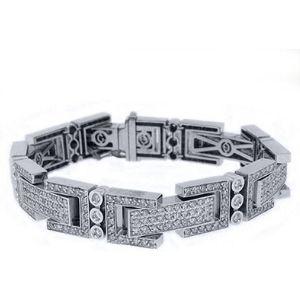 pulsera para hombre, de oro blanco de 14 k con diamantes