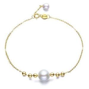 pulsera ajustable para niñas, de oro macizo de 14 k con perlas