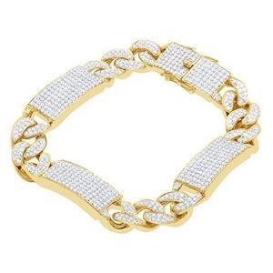 pulsera cubana, de oro amarillo macizo de 10 k con diamantes