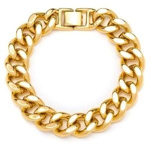 pulsera de eslabones cubanos para hombre y mujer, chapada en oro de 24 k