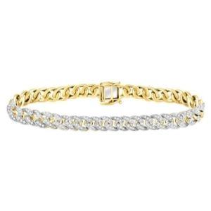 pulsera cubana, de oro amarillo de 10 k con diamantes redondos