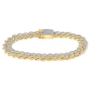 pulsera cubana para hombre, de oro amarillo de 10 k con diamantes