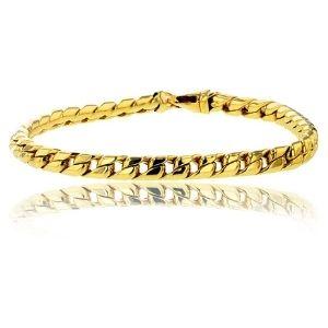 pulsera de eslabones cubanos de miami redondos, de oro amarillo macizo de 14 k